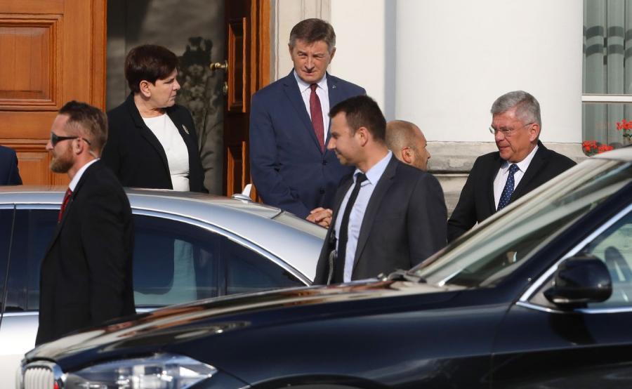Premier Beata Szydło oraz marszałek Sejmu Marek Kuchciński i marszałek Senatu Stanisław Karczewski