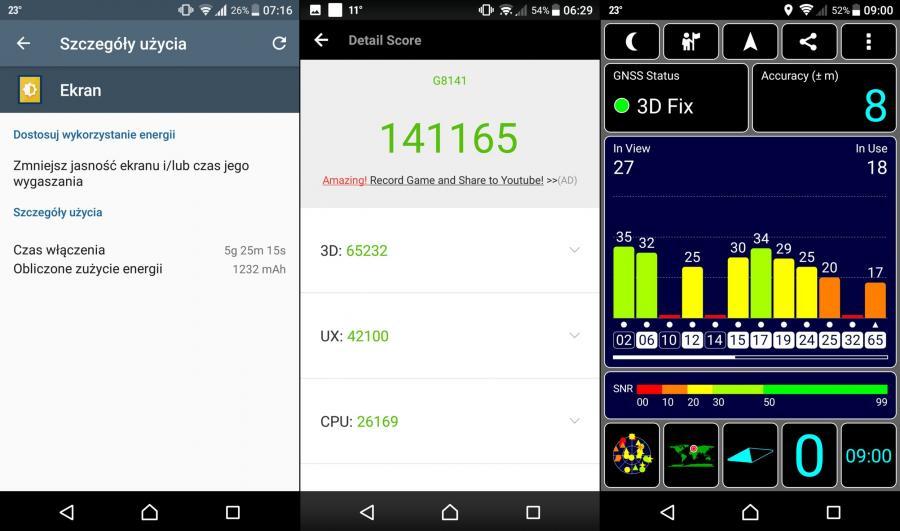 Sony Xperia XZ Premium - test baterii, AnTuTu benchmark, GPS