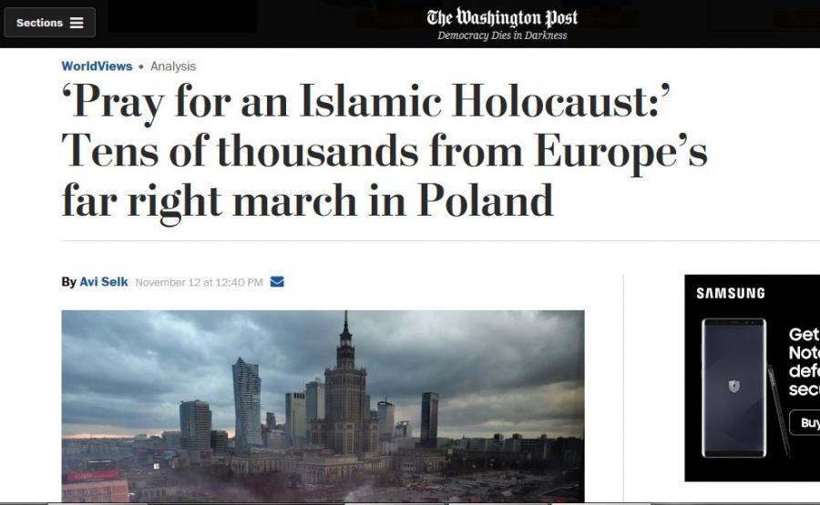 """""""Washington Post"""" o Marszu Niepodległości"""