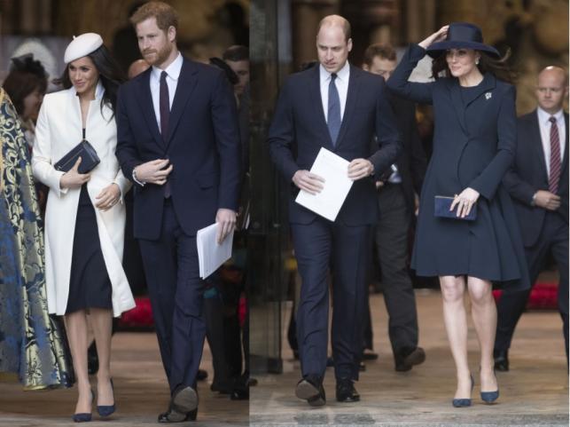 Meghan Markle i książę Harry oraz księżna Kate i książę William