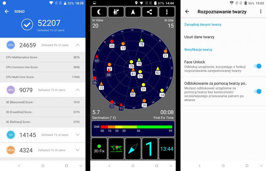 Alcatel 5  - AnTuTu Benchmark, GPS, rozpoznawanie twarzy