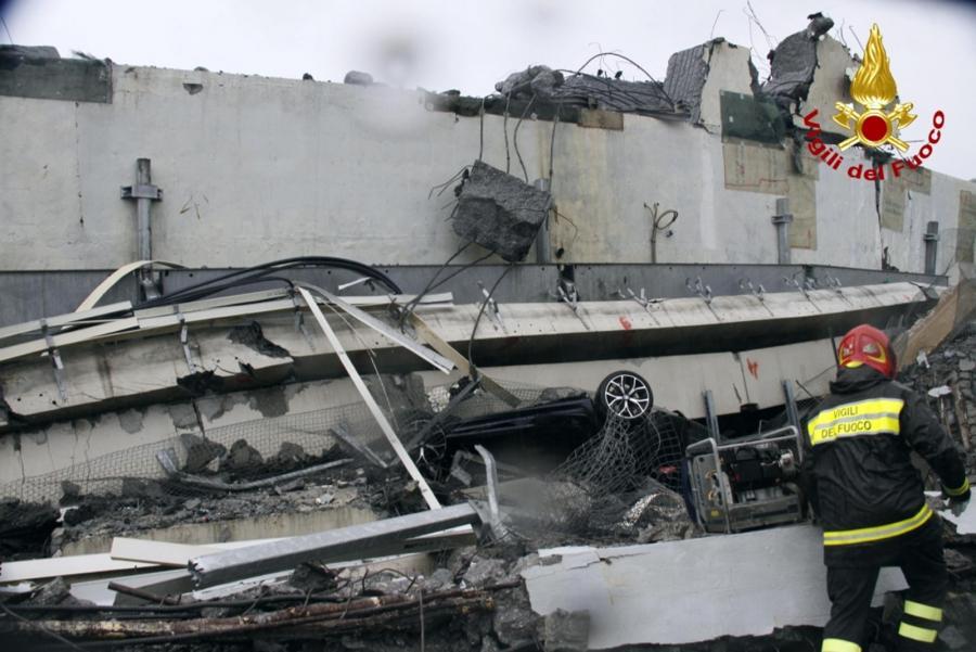 Miejsce katastrofy w Genui