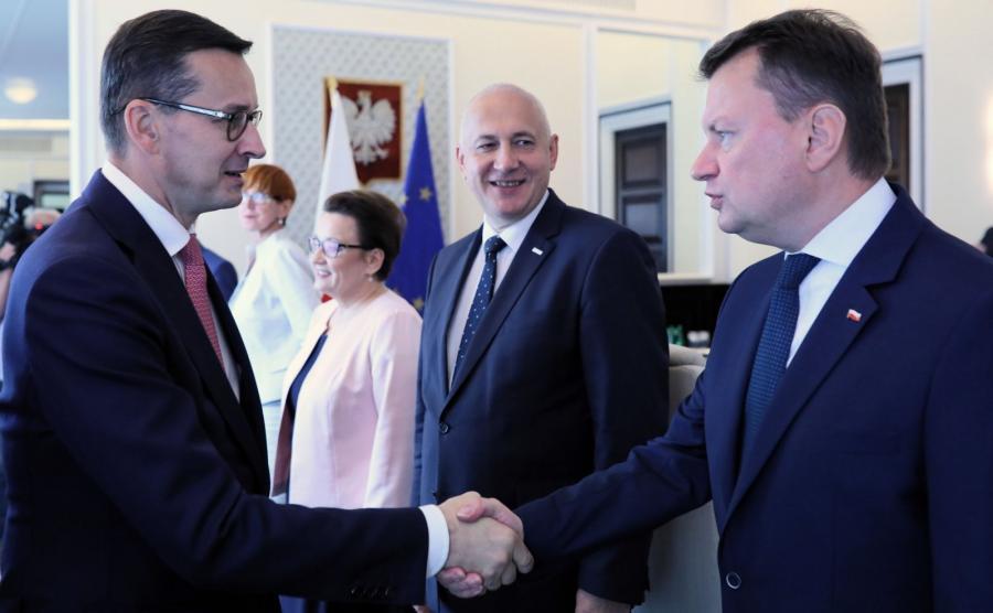 Mateusz Morawiecki i Mateusz Błaszczak
