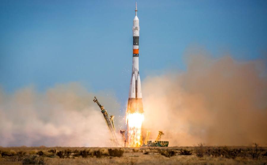 Rakieta Sojuz wystrzeliwana z kosmodromu Bajkonur