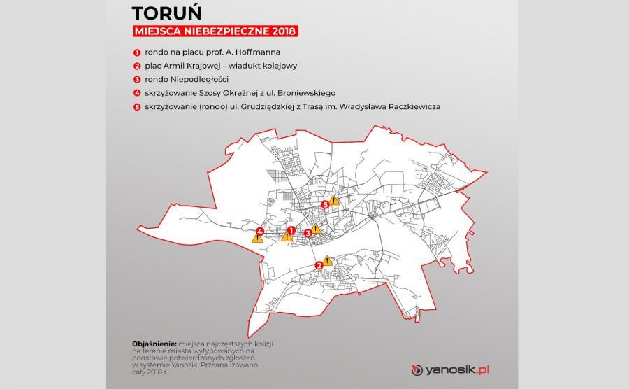 5 najbardziej niebezpiecznych miejsc w Toruniu