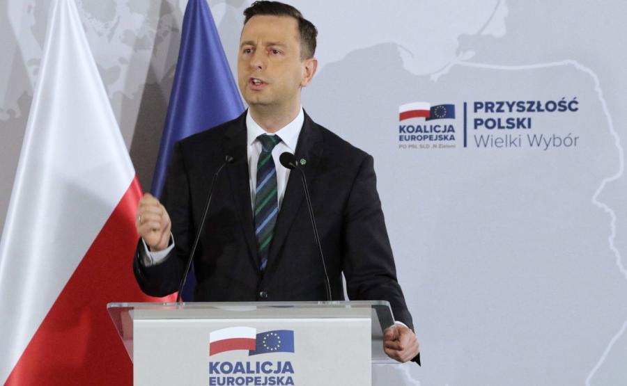 Prezes PSL Władysław Kosiniak-Kamysz przemawia podczas konwencji wyborczej Koalicji Europejskiej