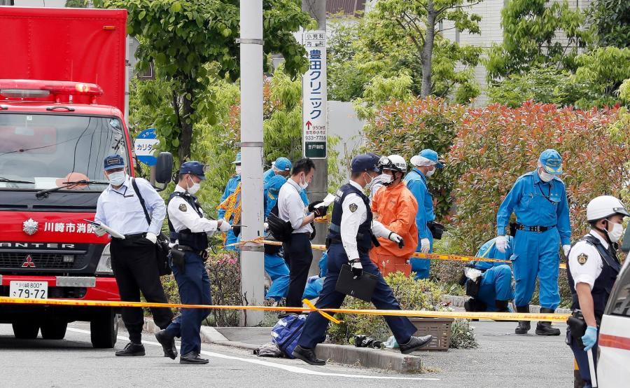 Japońska policja na miejscu zbrodni
