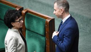 Marszałek Sejmu Elżbieta Witek  i poseł PO-KO Cezary Tomczyk