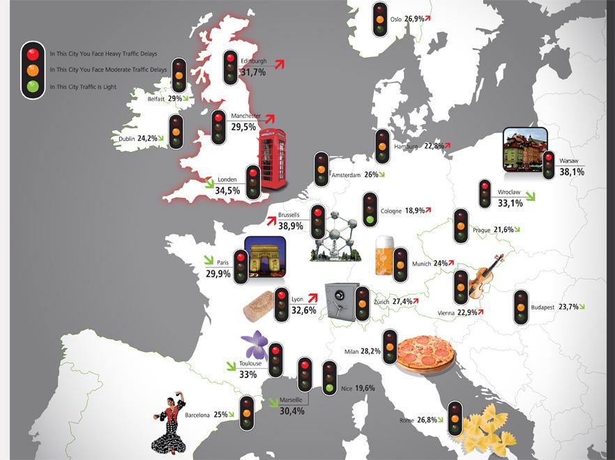 Mapa zakorkowanych miast Europy