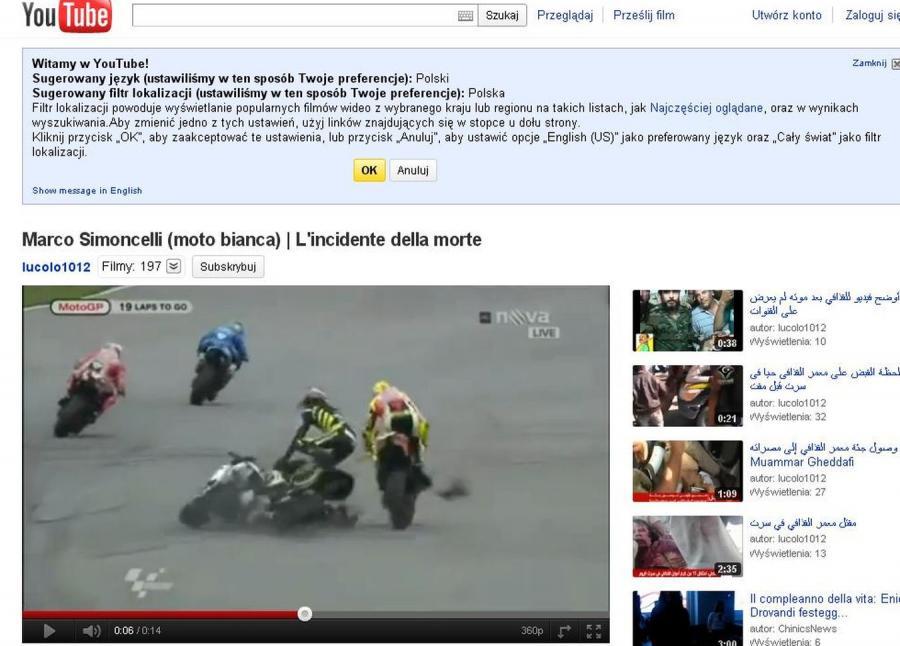 Marco Simoncelli zginął w wypadku na torze