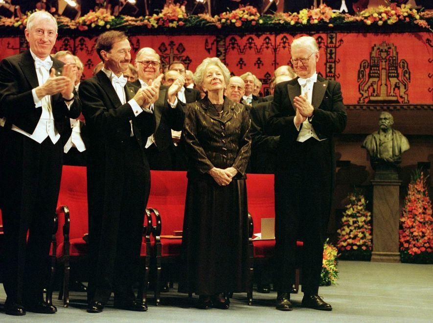 Wisława Szymborska na ceremonii wręczenia Nagrody Nobla