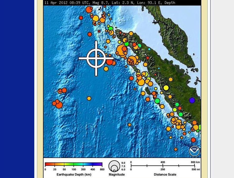 Epicentrum trzęsienia ziemi na Sumatrze