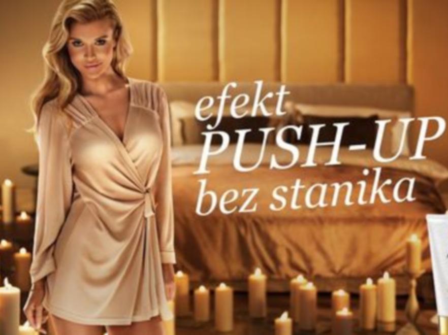 Joanna Krupa na plakatach reklamowych preparatu Esotiq Formuła Push Up Breast Mask
