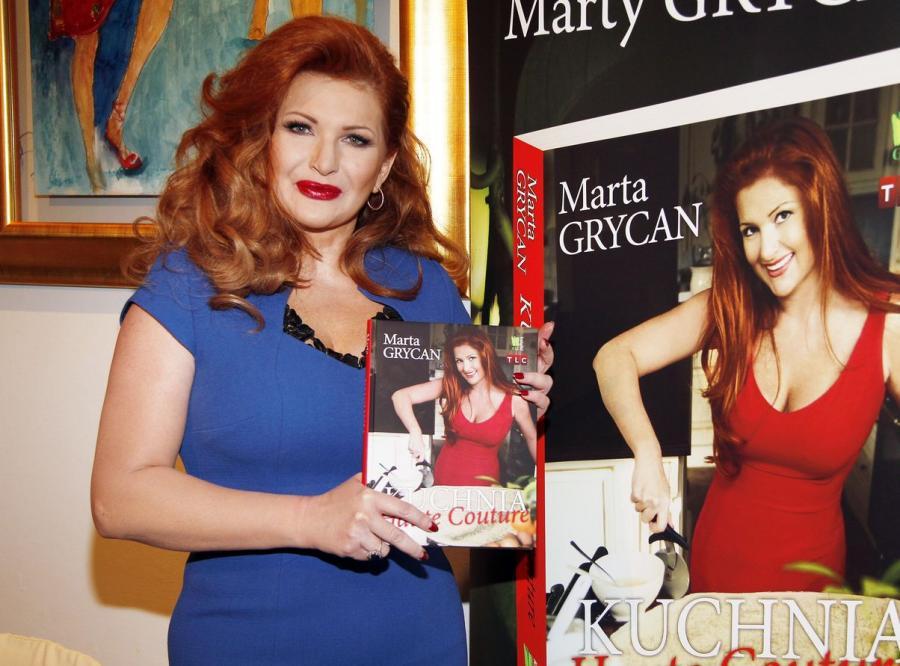 Marta Grycan na promocji swojej książki