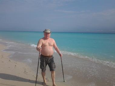 Lech Wałęsa na plaży