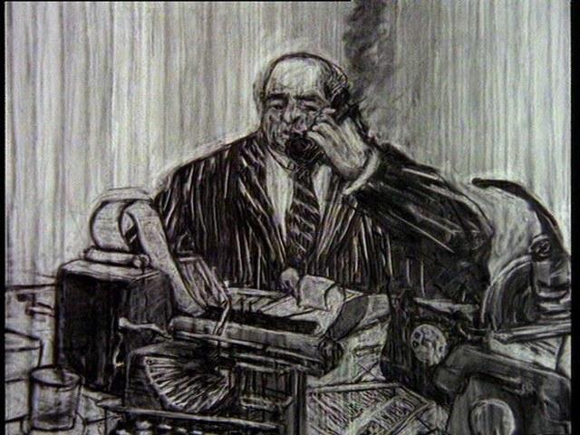 William Kentridge, Historia skargi głównej, 1996, kadr z wideo, trójkanałowe wideo 5\'47\'\', Dzięki uprzejmości Collezione Sandretto Re Rebaudengo