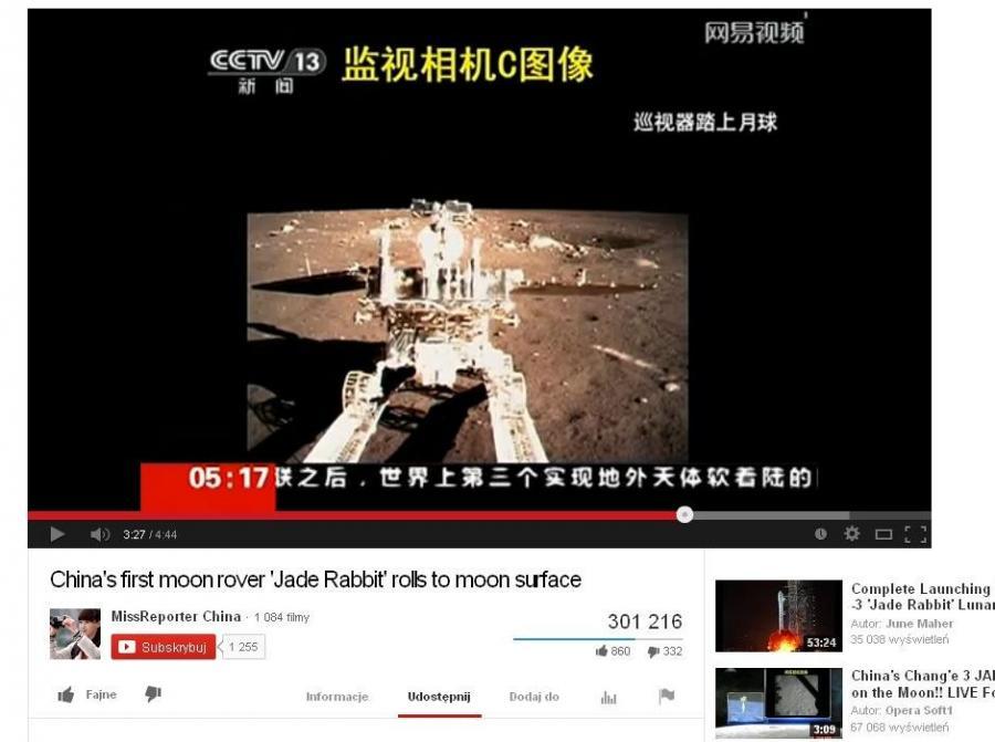 Film z lądowania łazika na Księżycu