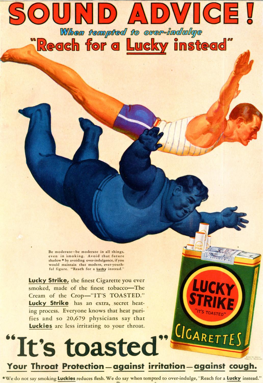 "Papierosy ""Lucky Strike"", rok 1930"