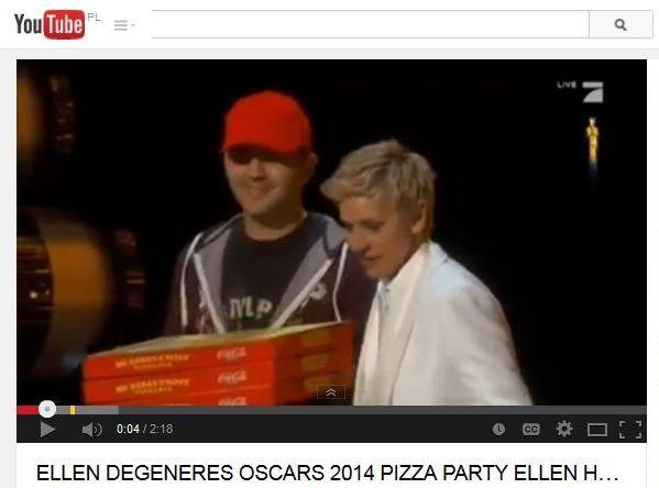 Ellen Degeneres rozdaje pizzę na Oscarach