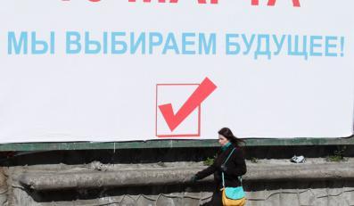 Plakat zachęcajcy do głosowania w referendum. Sewastopol, Krym