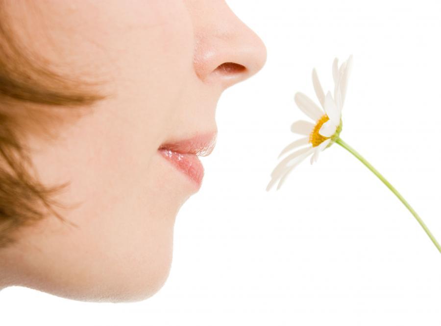 Kobieta wącha kwiatka