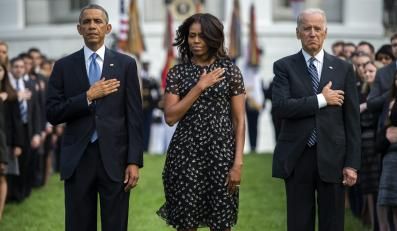 Barack Obama, Michelle Obama i wiceprezydent Joe Biden