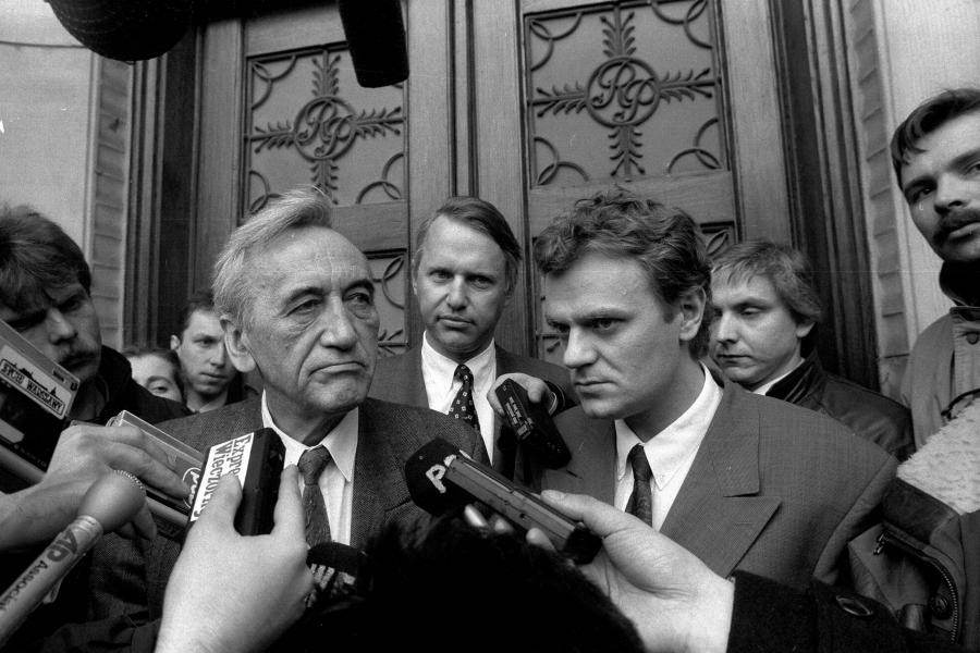 Tadeusz Mazowiecki i Donald Tusk, zdjęcie z 1992 roku