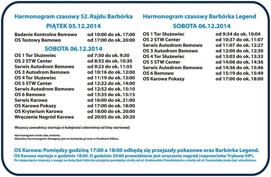 Harmonogram Rajdu Barbórka
