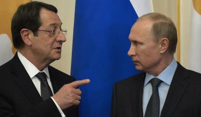 Prezydent Cypru Nicos Anastasiades i prezydent Rosji Władimir Putin
