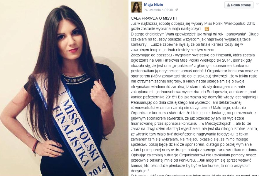 screen z profilu Mai Nizio, Miss Wielkopolski