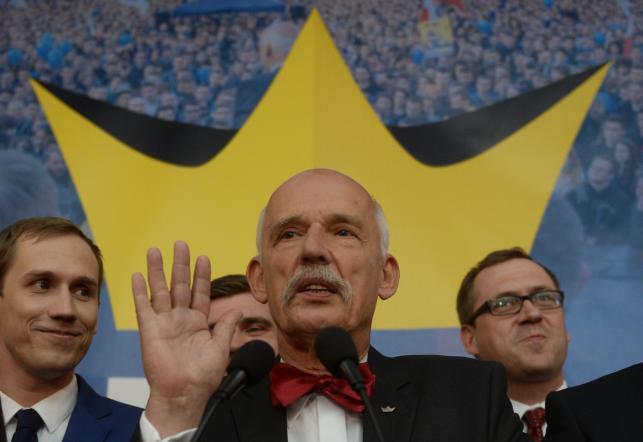 Janusz Korwin-Mikke w czasie wieczoru wyborczego: