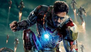 "Robert Downey Jr. z plakatu filmu ""Iron Man 3"""