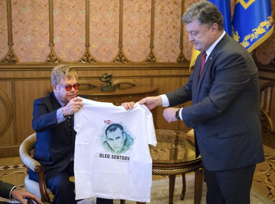 Elton John podczas spotkania z Petro Poroszenko