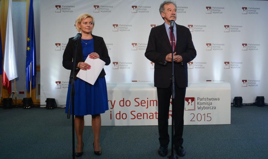 Przewodniczący Państwowej Komisji Wyborczej, sędzia Wojciech Hermeliński i szefowa Krajowego Biura Wyborczego Beata Tokaj