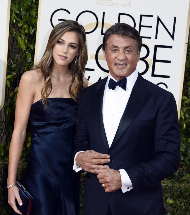 Sylvester Stallone i córką na gali Złotych Globów