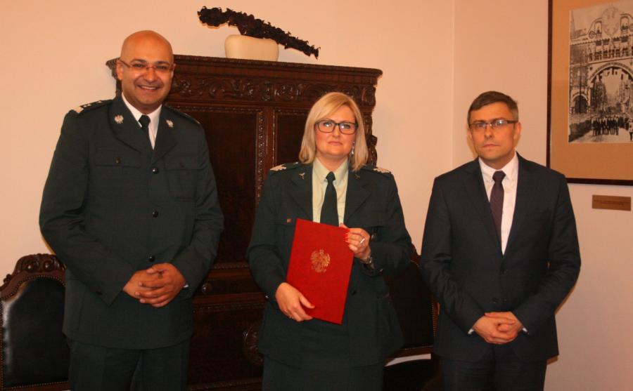 Alvin Gajadhur p.o Głównego Inspektora Transportu Drogowego, Anna Sokołowska-Olesik, nowa szefowa ITD w Katowicach i wojewoda śląski Jarosław Wieczorek