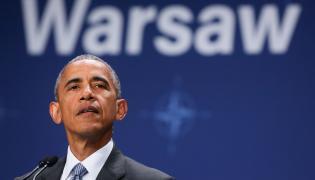 Prezydent USA Barack Obama, podczas konferencji prasowej na zakończenie ostatniego dnia szczytu NATO na stadionie PGE Narodowym w Warszawie