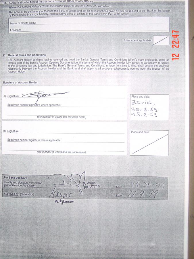 Część umowy, w której widnieje wzór podpisu Piechoty. Za tożsamość posiadacza rachunku i weryfikację jego podpisu odpowiada Peter Vogel