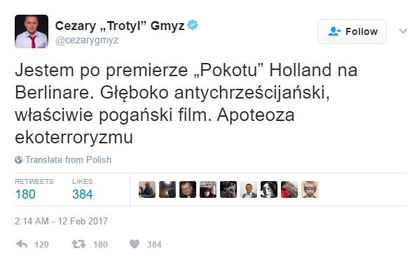 Cezary Gmyz na Twitterze o \
